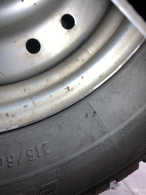 An example of a tyres sidewall starting to develop perishing and cracking.